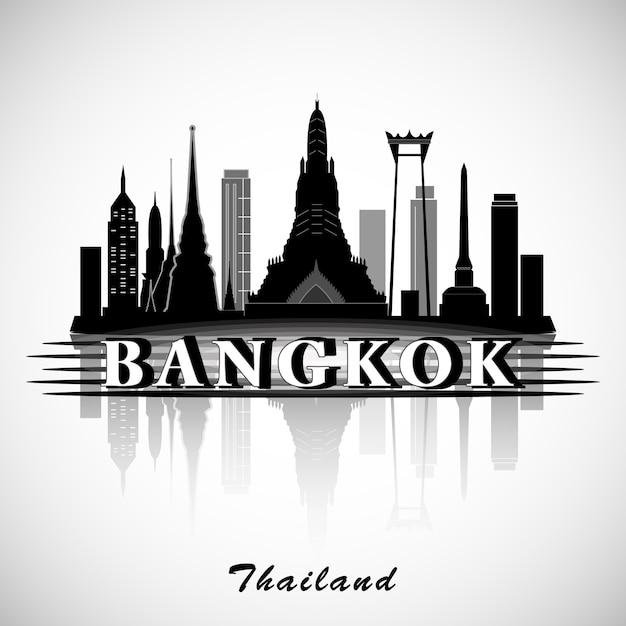Silhueta de bangkok, tailândia. skyline da cidade. Vetor Premium