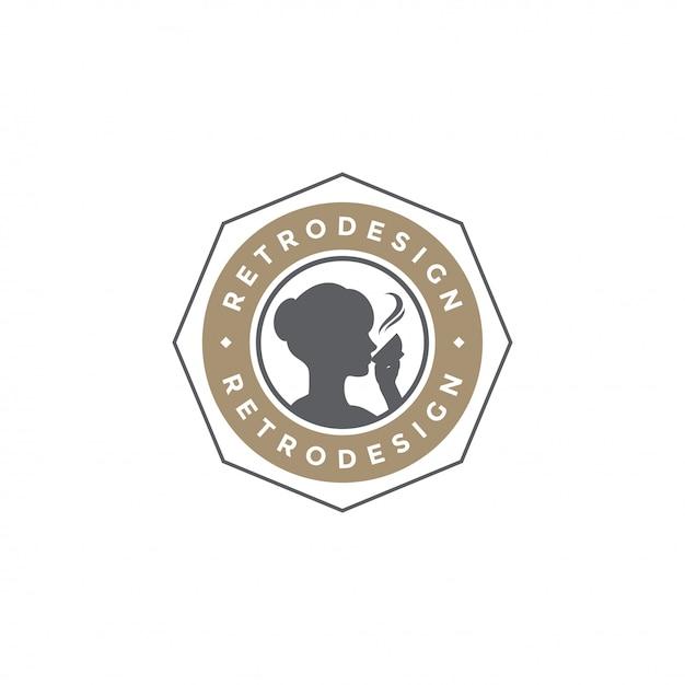 Silhueta de bebida de mulher de modelo de emblema de café com ilustração vetorial de tipografia retrô Vetor Premium
