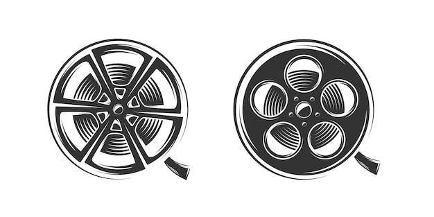 Silhueta de bobinas de filme isolada em fundo branco Vetor Premium