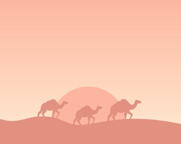 Silhueta de camelos atravessando o deserto. ilustração. Vetor Premium