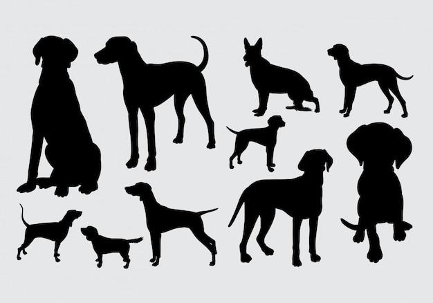 Silhueta de cão e cachorrinho Vetor Premium