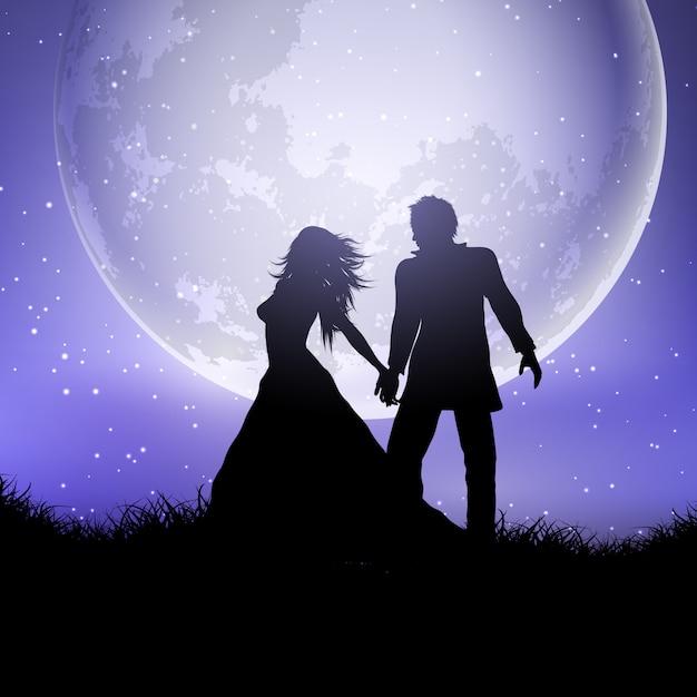 Silhueta de casal de noivos contra um céu ao luar Vetor grátis