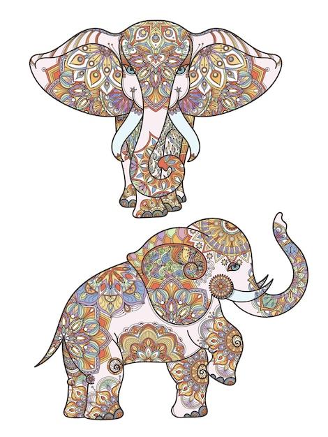 Silhueta de colorir decoração de elefante africano e mandalas nele. ilustração abstrata decoração de elefante africano Vetor Premium