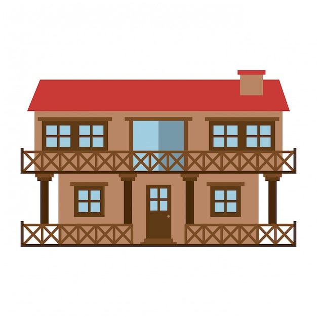 Silhueta de cor clara da casa de fachada de dois andares com varanda e chaminé Vetor Premium