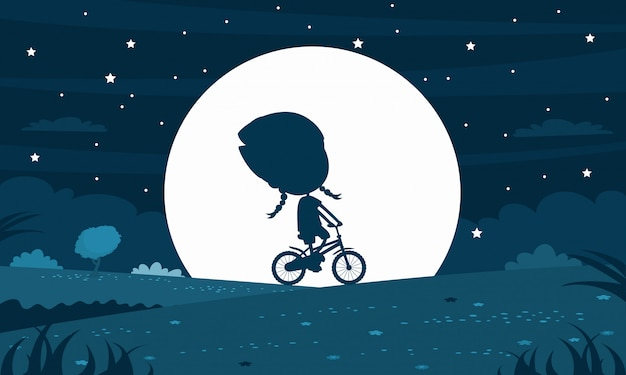 Silhueta de criança à noite moony Vetor Premium