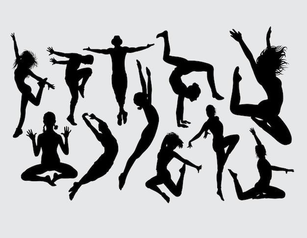 Silhueta de dança aeróbica atraente Vetor Premium