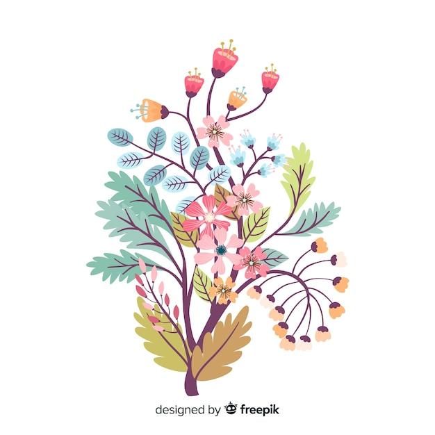 Silhueta de design plano de flores sobre fundo branco Vetor grátis