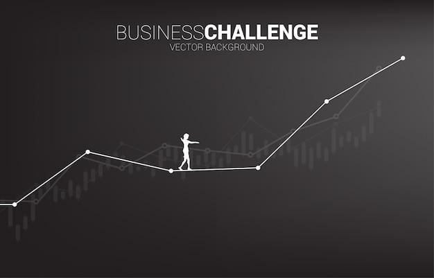 Silhueta de empresária andando na caminhada de corda até o gráfico de linha de crescimento. conceito de risco de negócios e desafio no plano de carreira Vetor Premium