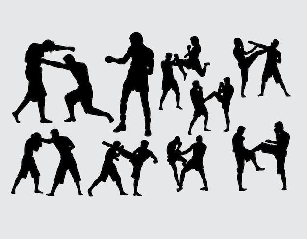 Silhueta de esporte de boxe e luta de treinamento Vetor Premium