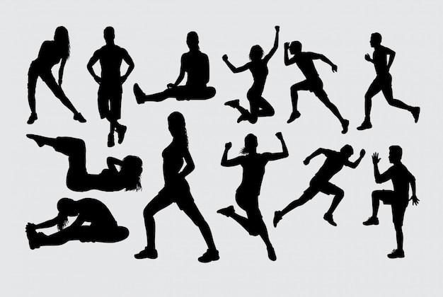 Silhueta de esporte de treinamento muscular Vetor Premium