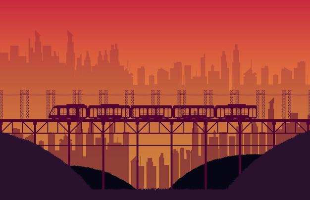 Silhueta de estrada de ferro de trem de alta velocidade com ponte em gradiente laranja Vetor Premium