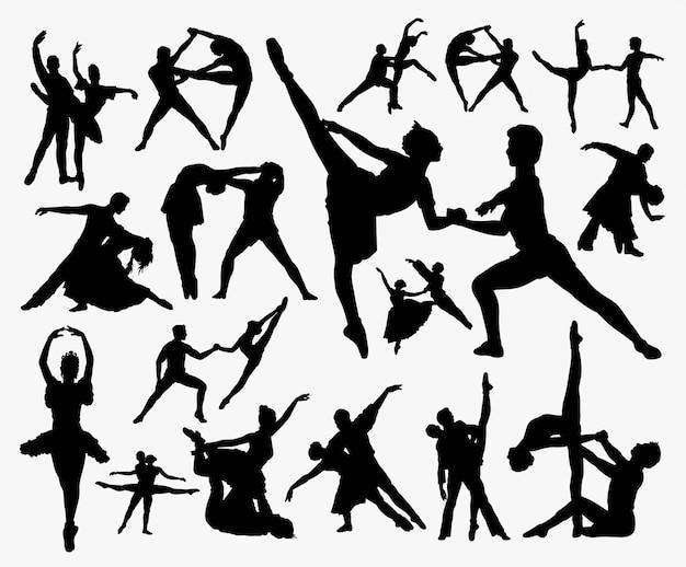 Silhueta de exercício de dança. Vetor Premium