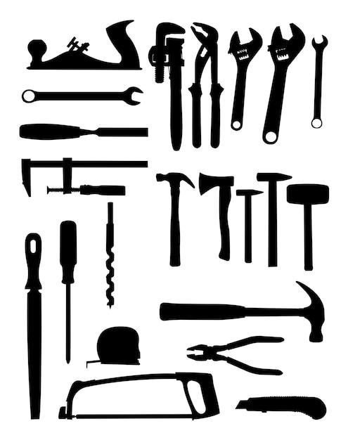 Silhueta de ferramentas Vetor Premium
