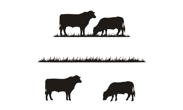 Silhueta de gado e grama Vetor Premium