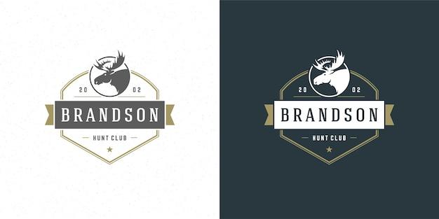 Silhueta de ilustração do emblema do logotipo da cabeça de alce para camisa ou carimbo de impressão Vetor Premium