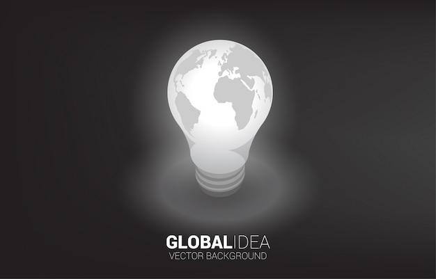 Silhueta de lâmpada com mapa-múndi ao redor. Vetor Premium