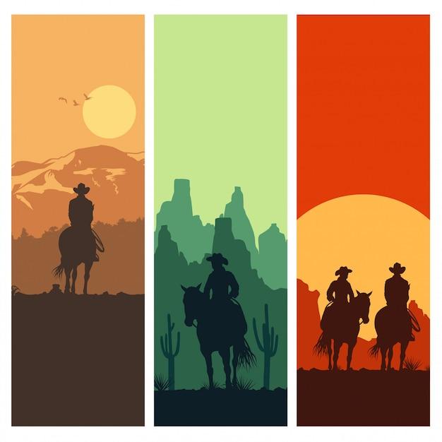 Silhueta de lcowboy cavalgando ao pôr do sol, ilustração vetorial Vetor Premium