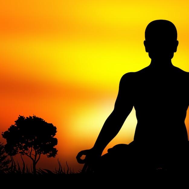 Silhueta de meditação do sol Vetor Premium
