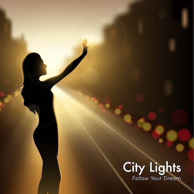 Silhueta de menina em luzes da cidade Vetor grátis