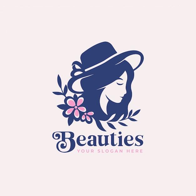 Silhueta de mulher beleza com design de logotipo de flor Vetor Premium