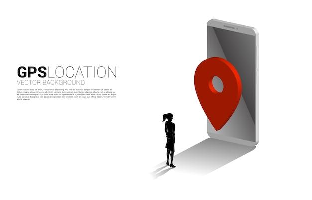 Silhueta de mulher de negócios com marcador de pino gps 3d e telefone celular. conceito de localização e local de instalação, tecnologia gps Vetor Premium