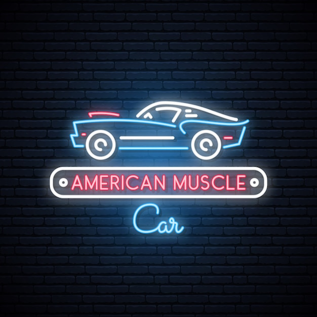 Silhueta de néon do carro americano clássico do músculo. Vetor Premium