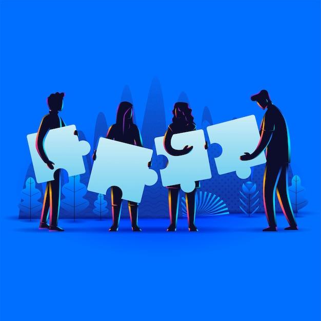 Silhueta de pessoas conectando elementos de quebra-cabeça. símbolo do trabalho em equipe, cooperação, parceria, conceito de negócio. Vetor Premium