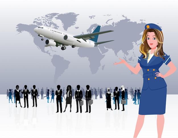 Silhueta de pessoas de viagens de negócios do mundo Vetor Premium