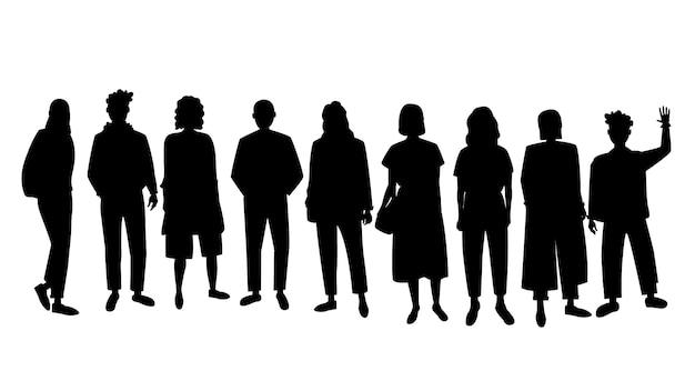 Silhueta de pessoas, grupo de pessoas Vetor Premium