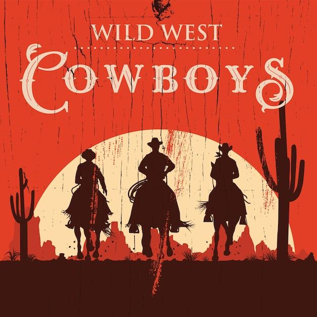 Silhueta de três cowboys montando fundo de cavalos, Vetor Premium