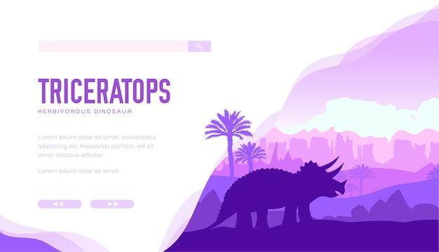 Silhueta de triceratops na natureza com rochas. um grande dinossauro herbívoro com chifres fica no meio. Vetor Premium