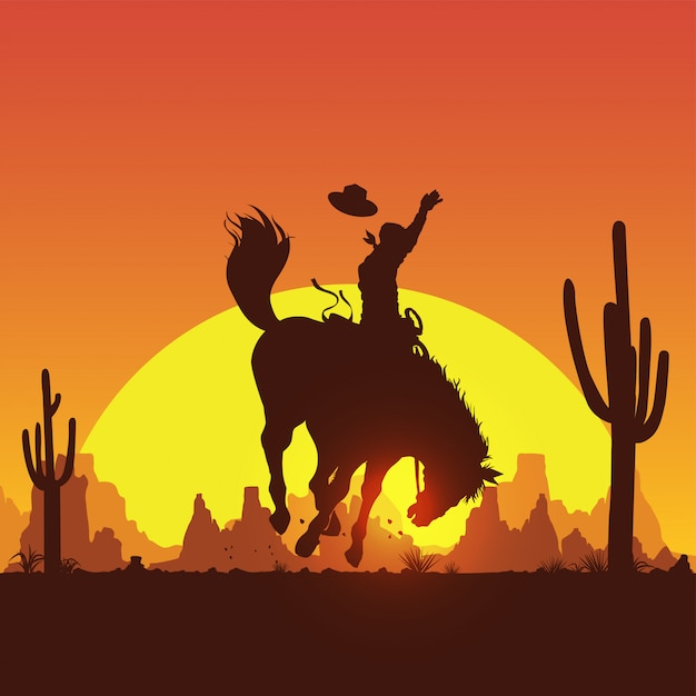 Silhueta de um cowboy cavalgando um cavalo selvagem ao pôr do sol Vetor Premium