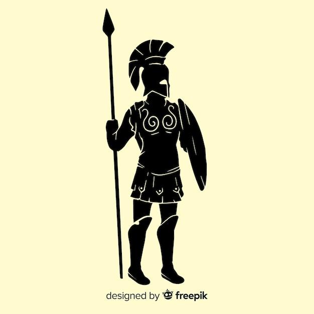Silhueta de um guerreiro espartano Vetor grátis