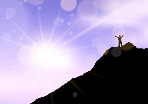 Silhueta de um homem ficou com os braços levantados na borda do penhasco contra o céu por do sol Vetor grátis