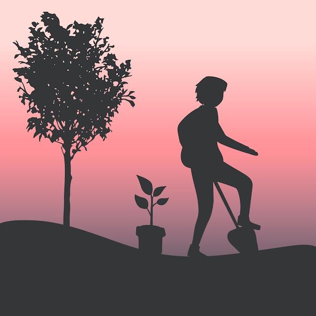 Silhueta de um homem jardinagem vector Vetor grátis