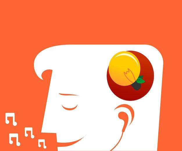 Silhueta de um homem ouvindo e cantando música para ter uma ideia nova Vetor Premium