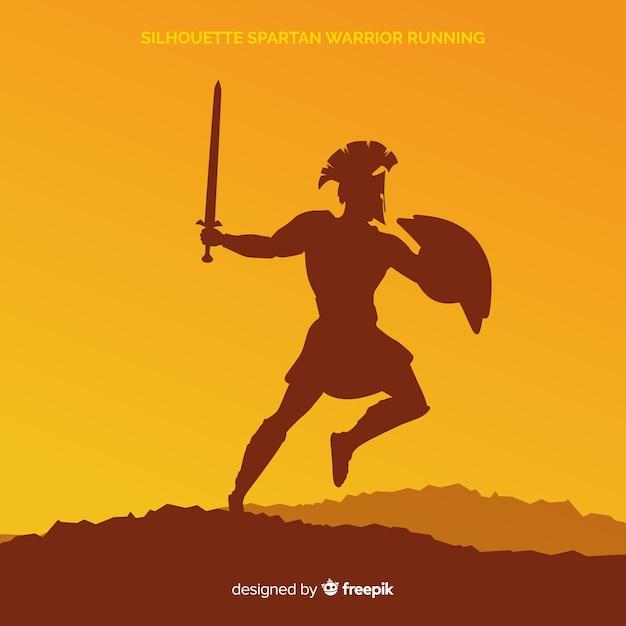 Silhueta de um treinamento de guerreiro espartano Vetor grátis