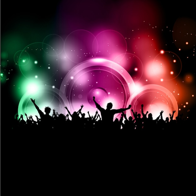 Silhueta de uma multidão de festa em um fundo de luzes brilhantes Vetor grátis