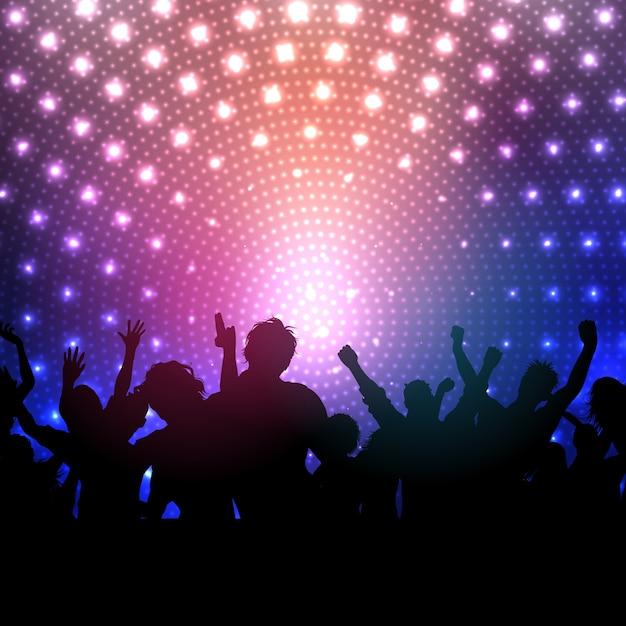 Silhueta de uma multidão do partido sobre um fundo luzes de discoteca Vetor grátis