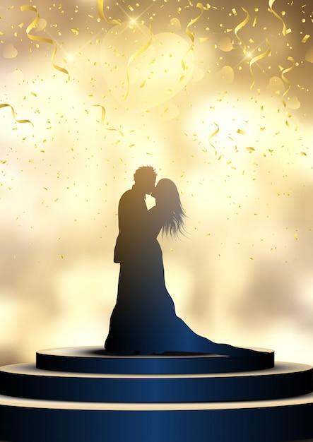 Silhueta de uma noiva e o noivo em um pódio iluminado com confetes, dia do casamento Vetor grátis