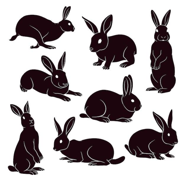 Silhueta desenhada de mão de coelhos Vetor Premium