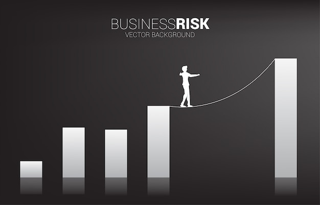Silhueta do empresário andando na corda andar caminho para o gráfico de barras mais alto. Vetor Premium