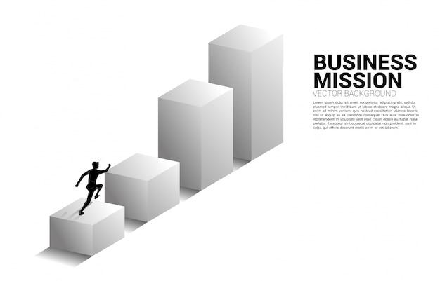 Silhueta do empresário correndo no gráfico de barras Vetor Premium