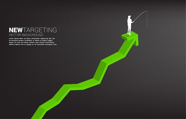 Silhueta do empresário pescando no topo do gráfico conceito de direcionamento e isca nos negócios Vetor Premium
