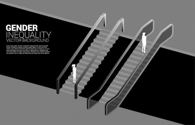 Silhueta do empresário se mover mais rápido do que a empresária com escada rolante. conceito de desigualdade de gênero nos negócios e obstáculo na carreira de mulher Vetor Premium