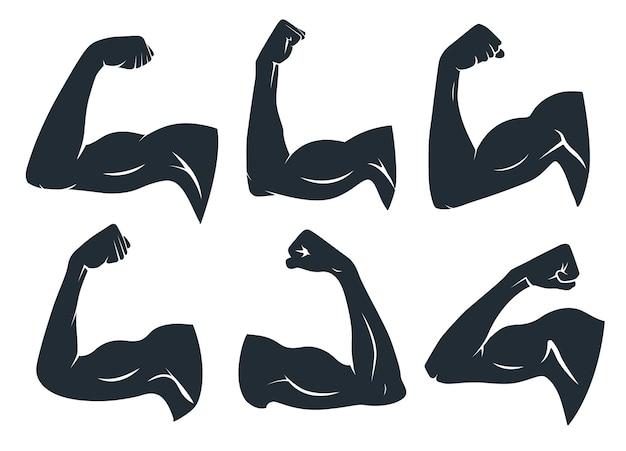 Silhueta do músculo da mão. músculos de braço fortes, bíceps duros e ginástica de força. logotipo de musculação nas axilas, bíceps de cara de fisiculturista ou emblema de poderes de braços de força conjunto de ícones de estêncil de vetor isolado Vetor Premium