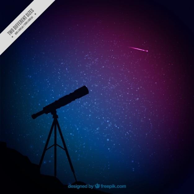 Silhueta do telescópio e fundo de céu estrelado Vetor grátis