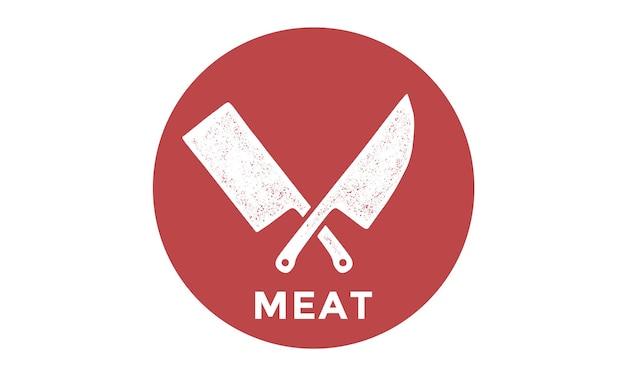 Silhueta duas facas de açougueiro - facas de cutelo e chef Vetor Premium