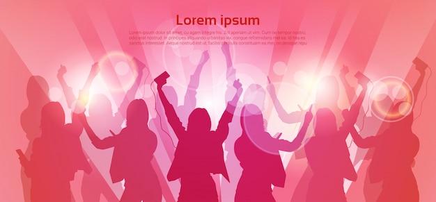 Silhueta mulher grupo dança noite clube luz Vetor Premium