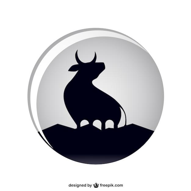 Silhueta negra touro Vetor grátis